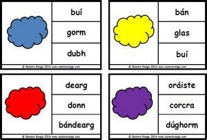 based on matching colours to their word name as gaeilge with a cloud theme as gaeilge