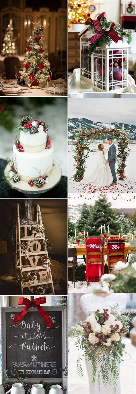 stunning christmas themed winter wedding ideas