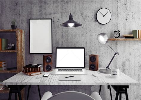 home office loft workspace photo background backdrop