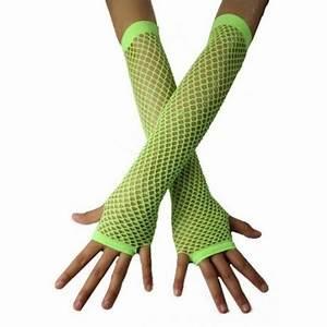 Fishnet Gloves Fingerless Green Gloves