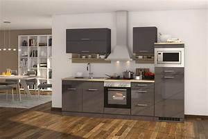 Küche Günstig Kaufen Mit Elektrogeräten : k chenzeile hochglanz grau einbauk che mit elektroger ten ~ Watch28wear.com Haus und Dekorationen