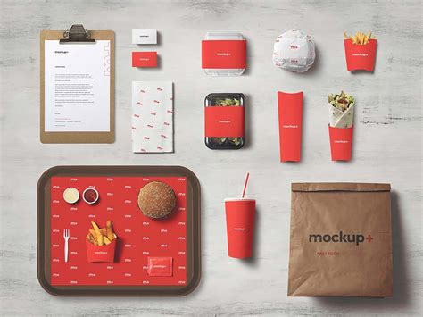 Free for personal and commercial glossy jar package free mockup to showcase your branding food packaging design in a photorealistic look. Free Fast Food Brand Identity Mockup (PSD)