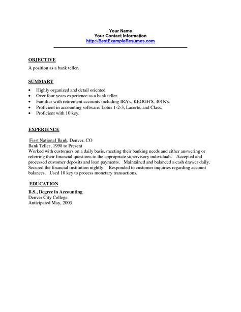 Sle Resume For Bank Teller At Entry Level by Cover Letter Sle With No Experience Assistant