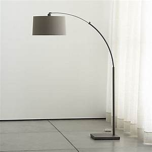Dexter arc floor lamp with grey shade reviews crate for Arc floor lamp glass shade