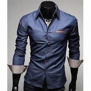 Chemise Homme Slim Fit : chemise homme fashion denim style design slim fit classe ~ Nature-et-papiers.com Idées de Décoration
