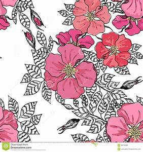 Vintage Graphic Flower Seamless Pattern Texture Stock ...
