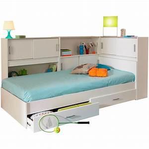Lit En Hauteur Enfant : lit enfant snap avec rangements blanc emob ~ Melissatoandfro.com Idées de Décoration