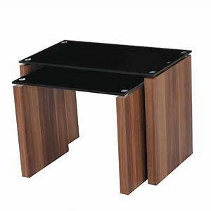 atlanta black glass nest of tables in walnut finish leg With black nesting tables living room furniture