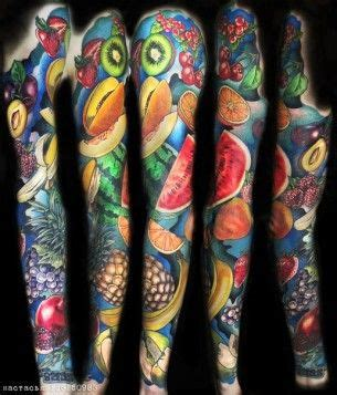 Berries and Fruits tattoo sleeve Tatuaje de frutas