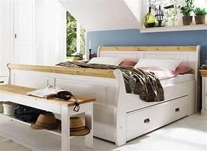 Doppelbett mit schubladen bett 180x200 weiß gelaugt holz Kiefer NEAPEL