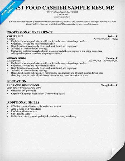 Fast #food Cashier Resume Sample (resumecompanionm. Grant Proposal Writing. Letterheads Designs Free Download Template. Action Plan Template For Students. Themes For School Projects Template. Teamwork At Work Examples Template. Free Sample Business Proposal Letter. Sports Certificate Template Free Template. Sample Construction Cover Letter Template