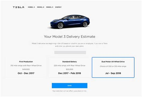 Tesla Model 3 Expected Delivery Dates Revealed
