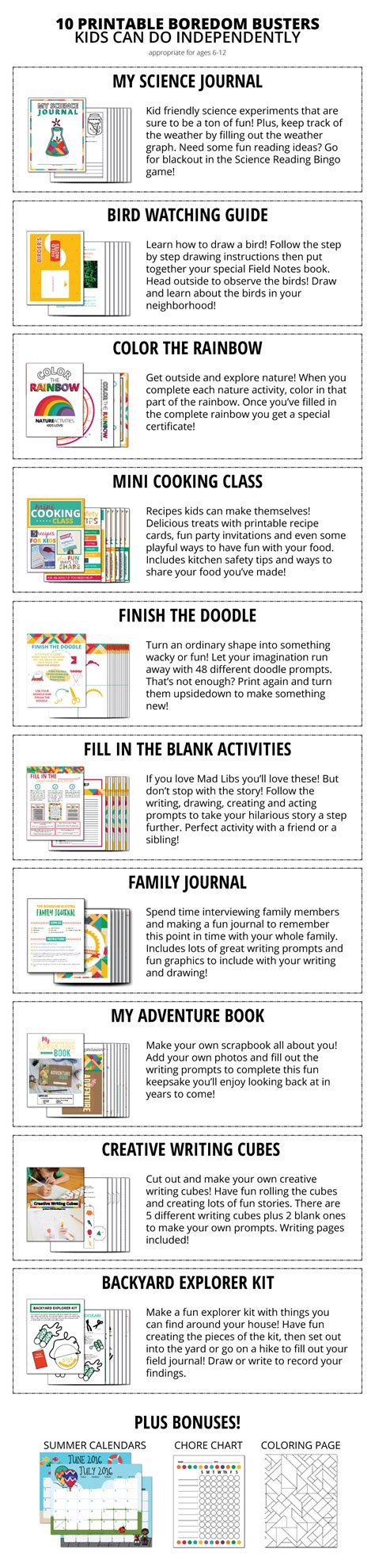 Printable Boredom Buster Activity Sheets Eclectic Momsense