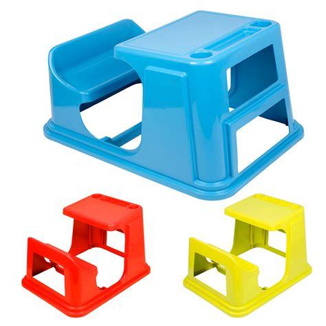 2 In 1 Children Chair & Desk Kids Bench Sturdy Plastic