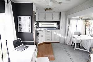 fabulous 5th wheel camper makeover accent colors grey With kitchen colors with white cabinets with happy camper sticker