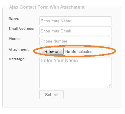 ajax contact form with attachment using php
