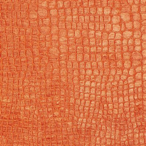 Bright Upholstery Fabric by Bright Orange Alligator Print Shiny Woven Velvet