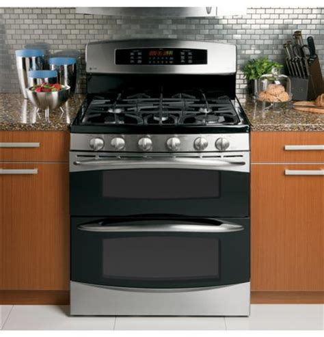 ge profile   standing gas double oven  convection range pgbsetss ge appliances
