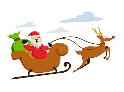 Santa Claus Riding Snow Sleigh Stock Vector