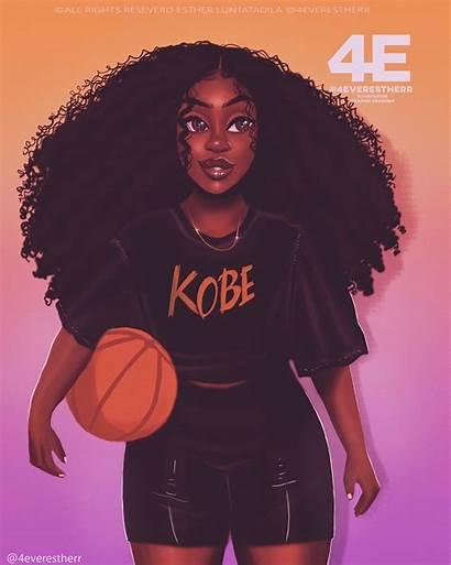 Cartoon Basketball Drawings Hair African Natural American