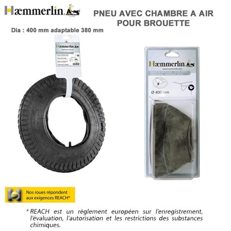 pneu chambre à air pneu chambre à air diam 400 mm pour brouette haemmerlin