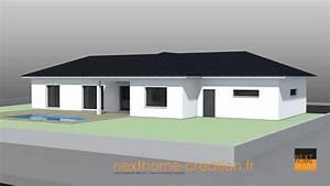 maison plain pied toit 4 pans moderne nexthome creation With hauteur maison plain pied