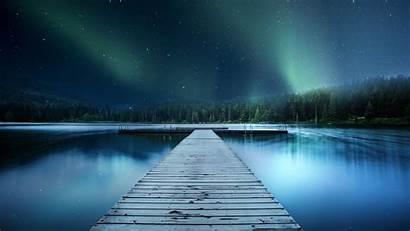 8k 4k Aurora Landscape Pier Wallpapers Nature