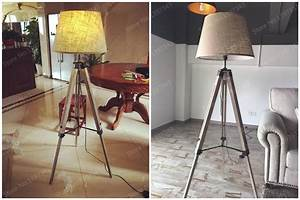 Rustic Wooden Tripod Floor Lamp Fabric Lampshades