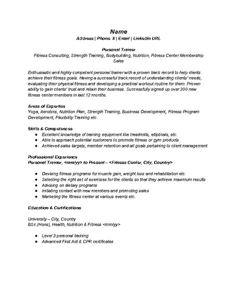 how to build a job resumes best fitness and personal trainer resume example