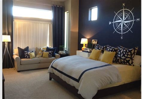 Yellow And Blue Master Bedroom by Navy Blue Accent Wall Yellow Accents Master Bedroom