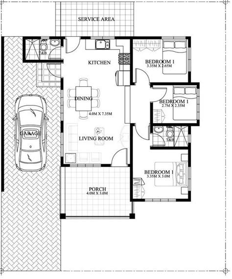 small house floor plan  bedroom single attached built
