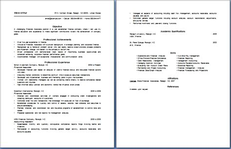 Financial Service Associate Resume by Financial Associate Resume Free Layout Format