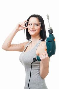 Positive Woman Hold Drill  Side View