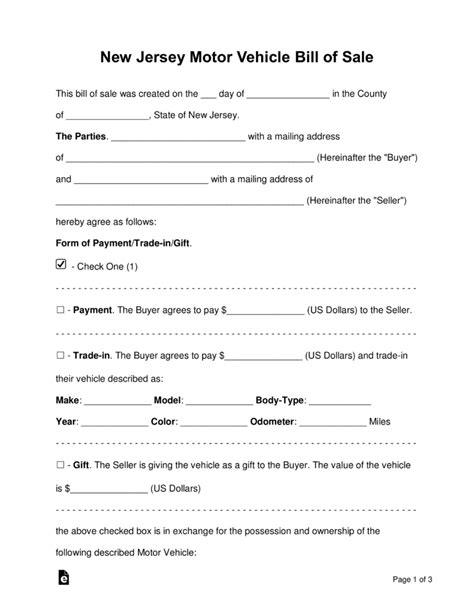 Do You Need Boat Insurance In Nj by Free New Jersey Bill Of Sale Forms Pdf Word Eforms