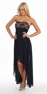 Black/Taupe High Low Semi Formal Dress Chiffon/Lace Strapless Neck u2013 DiscountDressShop