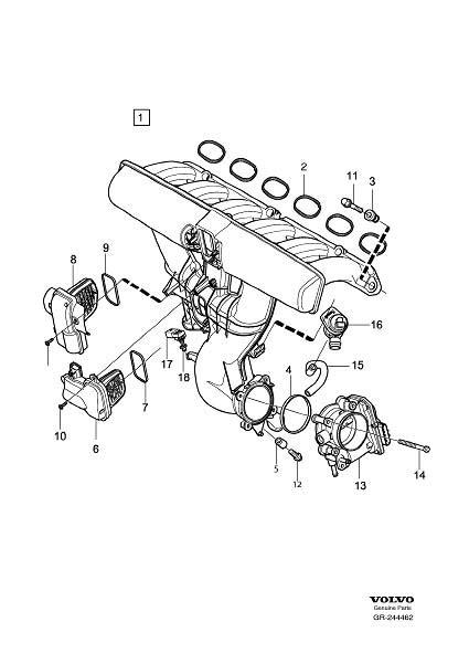 volvo xc gasket inlet manifold engine