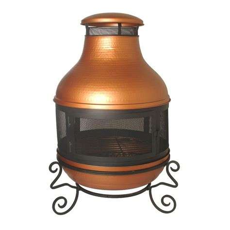 Chiminea Pit Home Depot by 38 In Hammered Chimenea Copper Pit Ds 7447 The