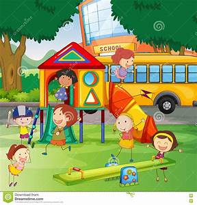 Children Playing In The School Playground Stock Vector ...