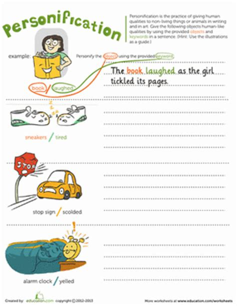 personification worksheet education