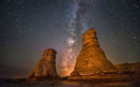 Desert Stars Galaxy Milky Way Rock Stone Night Hd