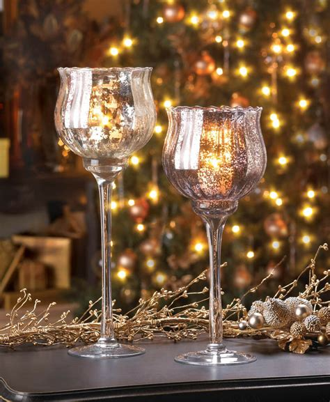 Glass Candle Vases by Large Silver Mercury Glass Chalice Candle Cup Holder