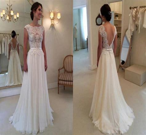 2015 Elegant A Line Wedding Dress With Backless Bateau