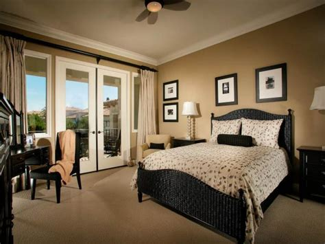 beige  black transitional bedroom  patio hgtv