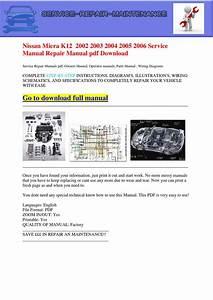 Nissan Micra K12 2002 2003 2004 2005 2006 Service Manual
