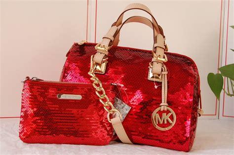 nwt michael kors red sequin grayson satchel barrel handbag tote matching wristl handbags