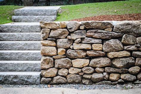 granite stacked stacked stone wall custom built natural stone walls