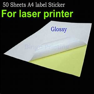 50 sheets a4 adhesive sticker paper glossy surface blank for Glossy label sheets