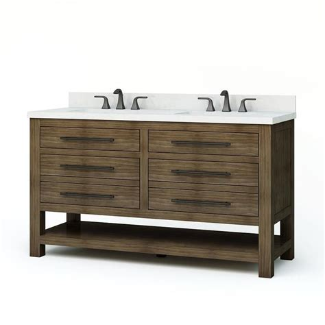 allen roth kennilton walnut 60 undermount double sink