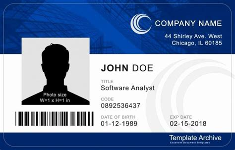printable id card template unique ms word id badge