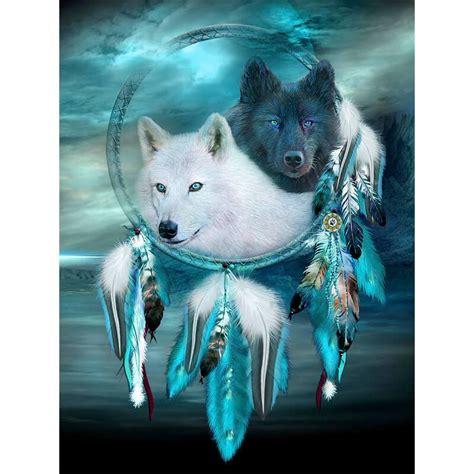 black  white wolf dream catcher  diamond painting